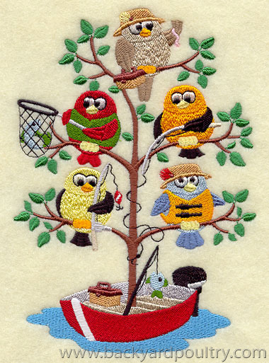 fishing tree embroidery